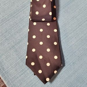 Woodward black white polka dot tie 100% silk